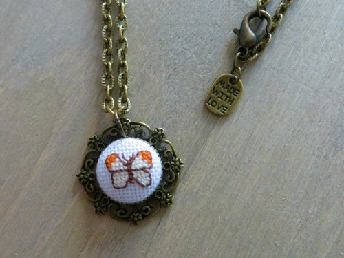 Josie Makes... Cross Stitched Butterfly Pendant